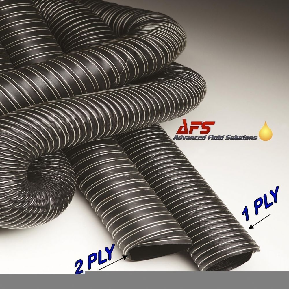254mm I.D 1 Ply Neoprene Black Flexible Hot & Cold Air Ducting